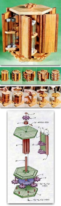 Plans of Woodworking Diy Projects - Rotary Box Plans - Woodworking Plans and Projects | WoodArchivist.com Get A Lifetime Of Project Ideas & Inspiration! #woodworkingdiy #WoodworkPlans
