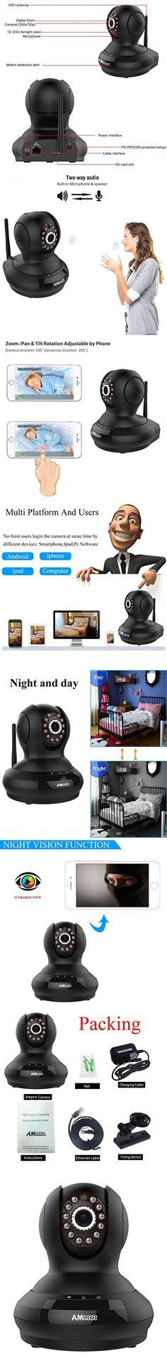 Amgaze Wireless Baby Camera Monitor Pet Dog Monitor WiFi IP/Network Surveillance Camera HD 720P Remote Viewing Baby Camera with Night Vision and Alarm Security 2 way Audio Camera Black