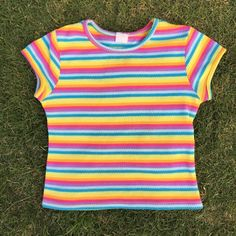 ba0ee8c83c3304 Listed on Depop by yassux666. Rainbow Crop TopStretchy Material