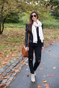 fall style // leather jacket + ripped denim + silk scarf