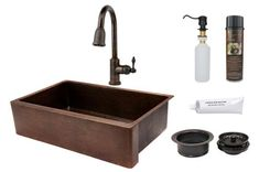 Premier Copper Products - KSP2_KASDB35229 Kitchen Sink, Faucet and Accessories Package  #coppersink #kitchensinkpackages #dreamkitchen