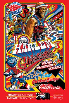 Limited Edition Harlem Globetrotters Poster Art by Mel Marcelo, via Flickr #posters #sports #retro