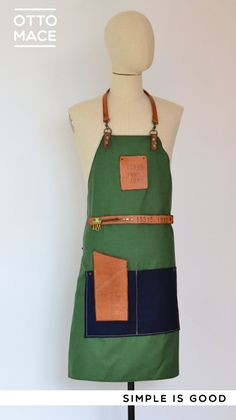 Delantal de loneta y PIEL / LEATHER and canvas apron Restaurant Aprons, Diy Design, Nail Bar, Leather, Cake, Kitchen, Ideas, Fashion, Barber Apron