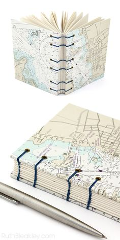 Fairhaven Connecticut Map Journal made with Nautical Charts - bookbinding by Ruth Bleakley (grommet detail) Handmade Journals, Handmade Books, Stitch Book, Diy Notebook, Book Journal, Book Binding, Book Gifts, Book Making, Altered Books