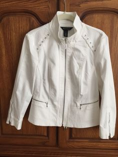 White House Black Market Cotton Jacket, White, Sz 8, NWT, Cute Lacing Detail #WhiteHouseBlackMarket #Motorcycle