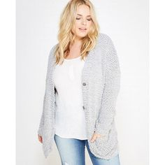 Plus Size Slouchy Chunky Knit Buttoned Cardigan ($19) ❤ liked on Polyvore featuring plus size fashion, plus size clothing, plus size tops, plus size cardigans, high rise, plus size, white v neck cardigan, plus size white cardigan, women plus size tops and womens plus tops