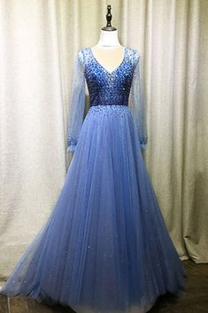 Blue Tulle Open Back Long A Line Evening Dress Prom Dress With Long Sleeves Senior Prom Dresses, Open Back Prom Dresses, Plus Size Prom Dresses, Tulle Prom Dress, Bridesmaid Dresses, Wedding Dress, A Line Evening Dress, Lace Evening Dresses, Affordable Evening Dresses