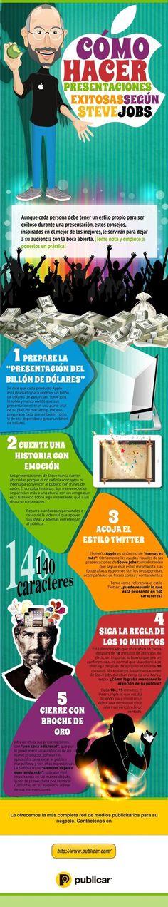Cómo hacer presentaciones de éxito según Steve Jobs #infografia #infographic | Aprendiendoaenseñar | Scoop.it