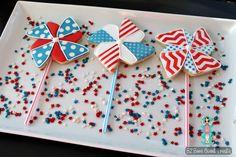 Patriotic Pinwheel cookies- BZ Bees Sweet Treats