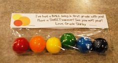 teacher gifts, ball, school, gift ideas, year gift, rainbow, first grade, parti, kid