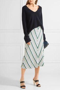 74eb3dbc8c Tory Burch - Villa striped satin-twill midi skirt