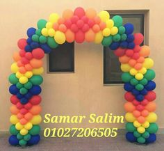 Very nice balloon color placement in this flat style arch. Rainbow Party Decorations, Ballon Decorations, Balloon Centerpieces, Birthday Party Decorations, Balloon Gate, Balloon Columns, Balloon Garland, Balloon Words, Love Balloon