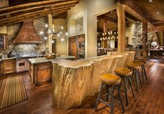 Big Beautiful & Rustic! We love this rustic cabin kitchen