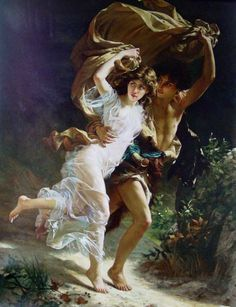 """Large framed oil on canvas reproduction of an original work """"The Storm"""" 1880 by Pierre-Auguste Cot (French, This reproduction is by NY artist Keli Hu and is Romantic Paintings, Classic Paintings, Beautiful Paintings, Renaissance Kunst, Renaissance Paintings, Rennaissance Art, Victorian Art, Fantasy Warrior, Classical Art"""