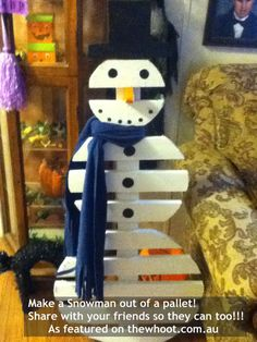 Re-purpose those pallets that are destined for the dump.   Remember.  That used to be a tree.!!    pallets into furniture, garden beds, you name it.   Even pallet  snowman
