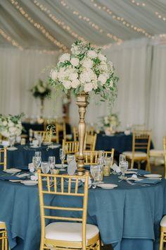 Mod Wedding, Nautical Wedding, Tall Wedding Centerpieces, Destination Wedding Inspiration, Blue Gold, Elegant, Classy, Chic