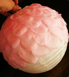 Pink flower lantern with tutorial