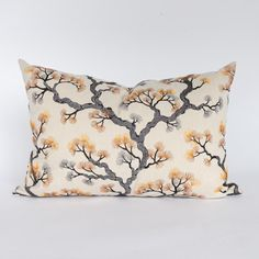 This embroidered lumbar pillow features a botanical motif in shades of copper, saffron and charcoal. Paying homage to Japanese red pines, the rich organic design balances the line between feeling both bold and serene. It will be a stunning addition to your space and is the perfect size for a quick update. Modern Throw Pillows, Decorative Pillows, Lumbar Pillow, Bed Pillows, Occasional Chairs, Pillow Inserts, Color Inspiration, Serenity, Coastal