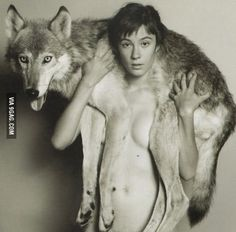 The model & her wolf looks like straight from mononoke hime film