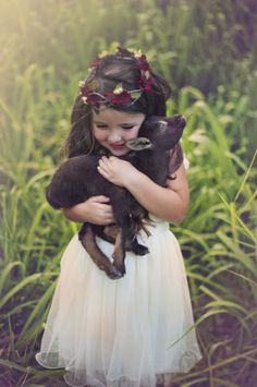 Beautiful shot by Hailey Faria Photography Girls Lace Dress, Lace Flower Girls, Tulle Dress, Animals For Kids, Baby Animals, Cute Animals, Animals Images, Cute Kids, Cute Babies