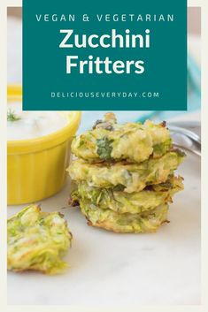 These easy vegan zucchini fritters are baked rather than fried for a healthy (but still totally delicious) dish. Paired with a creamy, dairy-free yogurt sauce these little morsels are totally irresistible! Easy Vegan Dinner, Vegan Dinner Recipes, Vegan Dinners, Vegan Side Dishes, Healthy Dishes, Tasty Dishes, Vegan Zucchini Fritters, Dairy Free Yogurt, Vegan Appetizers