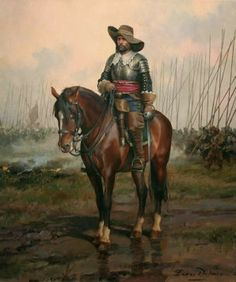Most definitely the end of this period. A Senior officer with his pike block moving up behind him. Almost certainly from the thirty years war