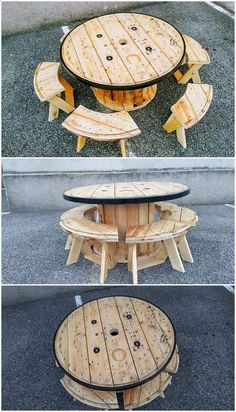 Shed Plans - Pallet and Cable Reel Round Table and Benches Now You Can Build ANY Shed In A Weekend Even If You've Zero Woodworking Experience!