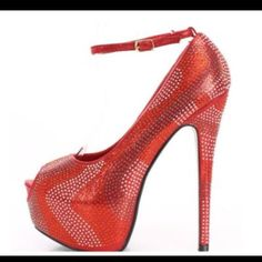 Red Sparkly Heel Red sparkly heel great for holiday parties or date night. Shoes Heels