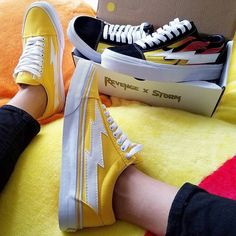 Image result for REVENGE X STORM vans old skool flame n yellow
