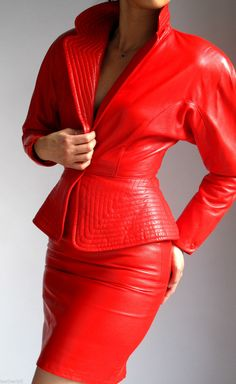 RED LEATHER DRESS SUIT - RIBBED JACKET and SKIRT - EREZ LILLIE RUBIN | eBay
