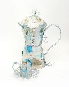 Espresso Pot & Cup by priscilla jones Textiles, Art Articles, Tea Art, Everyday Objects, Textile Artists, Wire Art, Food Illustrations, Fabric Art, Mixed Media Art
