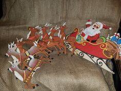 Vintage Set of Santa & His Reindeer by VintageBarnYard on Etsy