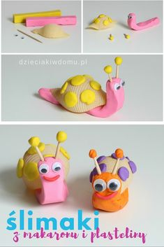 Jumbo Pasta Shell Snail Craft - not in English but it has pictures Bug Crafts, Diy Arts And Crafts, Creative Crafts, Diy Crafts For Kids, Animal Crafts For Kids, Craft Activities For Kids, Preschool Crafts, Art For Kids, Snail Craft