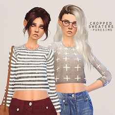 Pure Sims: Cropped sweater • Sims 4 Downloads