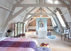 7 creative uses for attic and loft conversions. Styling by Studio Boot. Photography by Jean-Marc Wullschleger/Living Agency. Style At Home, Artistic Room, Modern Scandinavian Interior, Turbulence Deco, Interior Architecture, Interior Design, Attic Bedrooms, Home Fashion, Living Area
