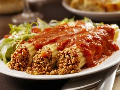 Stuffed Manicotti: Brown hamburger with some of our sauce. Stuff noodles with mixture put into baking dish top with any of our sauces. Bake 350 for 1 hour top with cheese and serve Pasta Sauces, Crock Pot Cooking, Okra, Penne, Nutritious Meals, Meatloaf, Hamburger, Crockpot, Slow Cooker