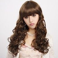 Fashion Capless Long Curly Light Brown High Quality Synthetic Wig Full Bang