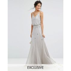 Amelia Rose Embellished Overlay Maxi Dress With Mesh Insert Skirt ($185) ❤ liked on Polyvore featuring dresses, grey, sheer maxi dress, bodycon maxi dress, bodycon dress, cutout maxi dresses and cocktail party dress
