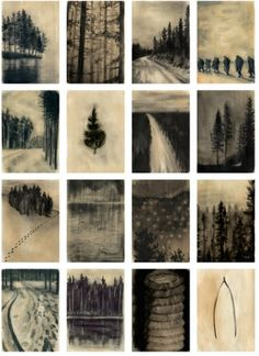 Hinterland: Lotte Oldfield A wordless narrative depicted through views seen in a forest and surrounding wasteland. Hand bound book 150mm x 112mm