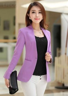 Autumn Women Blazers Jackets Candy Color Jacket Long Sleeve Slim Suit One Button Women Jacket Big Size Blazer Blazer Jackets For Women, Blazers For Women, Suits For Women, Women Blazer, Jackets Uk, Suit Jackets, Office Outfits, Office Wear, Female Suit
