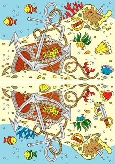 Printable Find The Difference Pirate Treasure Chest Game