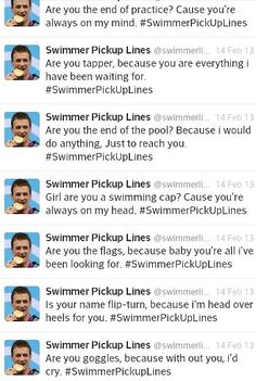 Unless your a swimmer you wouldn't understand swimming pick up lines, i love Swimming Pick Up Lines, I Love Swimming, Swimmer Quotes, Swimmer Girl Problems, Swimming Funny, Pick Up Lines Funny, Competitive Swimming, Sites Online, Best Dating Sites