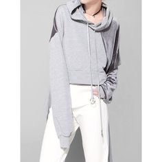 Hoodie Hooded Long Sleeve Loose Patchwork Cropped Hoodie (27 NZD) ❤ liked on Polyvore featuring tops, hoodies, cut-out crop tops, loose crop top, cropped hoodie, long sleeve tops and long sleeve hoodies