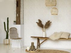Craft beige / gray ornaments wallpaper - Home Sweet Home by Casadéco A N Wallpaper, Textured Wallpaper, Wallpaper Ideas, Arabesque, Papier Paint, Sweet Home, Cosy Corner, Piece A Vivre, Decoration
