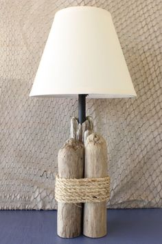 Coastal style lamp with driftwood accents