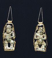 ARCHAEOLOGY.   Gold pendants from Vulci (Lazio). Etruscan Civilization, 7th Century BC.