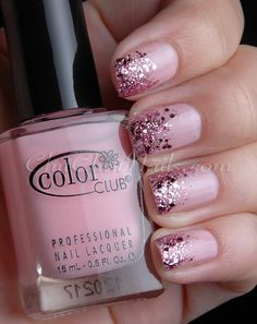 Pink Sparkle nails for Pink Tie Gala
