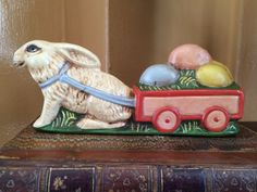 VINTAGE EASTER BUNNY RABBIT FIGURINE HAND PAINTED CART EGGS WAGON COLLECTIBLE