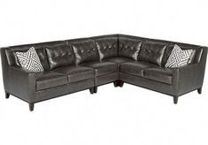 0c72050fe47 Reina Point Gray Leather 4 Pc Sectional Set includes 4 Pc x x Find  affordable Leather Living Rooms for your home that will complement the rest  of your ...