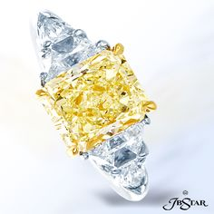 Style 4954 Fancy light yellow diamond ring featuring a stunning 3.55 ct fancy light yellow radiant diamond, embraced by trapezoid and shield diamonds. Platinum/18KY @jewelsbystar #fancyyellow #diamond #ring